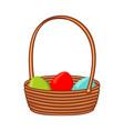 colorful cartoon wicker basket eggs vector image vector image