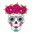 day dead sugar skull with floral ornament vector image vector image