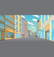 empty downtown street with closed shops vector image