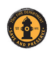 fire department grunge label vector image vector image