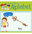 Flashcard letter K is for key vector image vector image