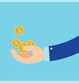flat hand earn coins symbol about business vector image vector image