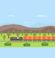 freight train moving on nature landscape rail vector image vector image