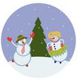 funny dancing snowmen vector image vector image