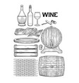 graphic collection of winery wooden stuff drawn in vector image