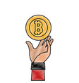 grated bitcoin electronic currency with hand up vector image vector image