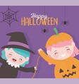 happy halloween little girls witch and pumpkin vector image vector image