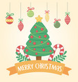 happy merry christmas card with pine tree vector image vector image