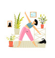 happy smiling woman doing yoga or fitness vector image