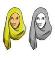hijab girl head vector image