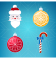 Icons on Blue Background Christmas vector image vector image