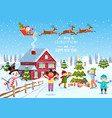kids decorating a christmas tree vector image vector image