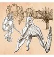 Kniight nad Pterosaur Dragon - Line art hand drawn vector image vector image