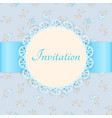 lace frame with blue ribbon on floral background vector image vector image