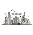 linear banner chicago city line art vector image