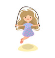 little girl jumping with jump rope summer kids vector image vector image