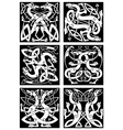 Magic dragons celtic knot patterns in tribal style vector image vector image