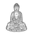 meditating buddha engraving vector image vector image