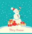 merry christmas card with snowman and bullfinch vector image