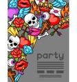 Party invitation with retro tattoo symbols vector image vector image