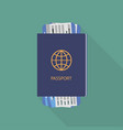 passport with tickets on turquoise background vector image