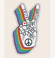 peace hand gesture sign with words on it peace vector image vector image