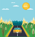 picture of car on the road with city silhouette vector image