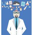Picture of male doctor with medicine symbols vector image vector image