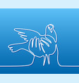 pigeon in hands logo vector image