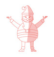 red shading silhouette cartoon full body fat santa vector image vector image