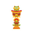 religious totem pole colorful cultural tribal vector image