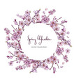 sakura in bloom round banner with flowers vector image