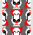 scary clown pixel art pattern 8 bit background vector image vector image