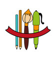 school supplies drawing icon vector image