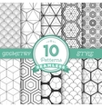 set 10 seamless geometric lines pattern vector image