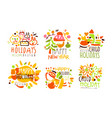 set logos for holiday vector image