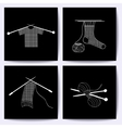 Set of cards with knitting needles sock scarf vector image vector image