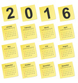 simple calendar 2016 year on yellow stick notes vector image vector image