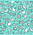 sketch mixed tropical fruits seamless pattern vector image vector image