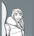 sketch of young woman in winter clothes take vector image vector image