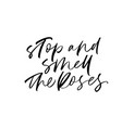 stop and smell roses phrase vector image