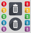 The trash icon sign A set of 12 colored buttons vector image vector image