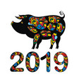the year of pig 2019 vector image vector image