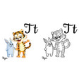 tiger alphabet letter t coloring page vector image vector image