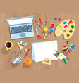 top view set artists workplace vector image
