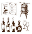 vintage winery wine production handmade draft vector image vector image