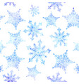 watercolor snowflakes seamless pattern vector image vector image