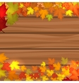 Wood background with autumn maple leaves vector image
