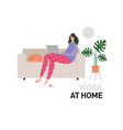 work at home flat style young woman at home in vector image vector image