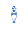 young woman in dress line icon concept young vector image vector image